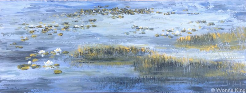 2016 Wm Landscape Waterliliesinblue Acrylic 80x30cms Yvonneking