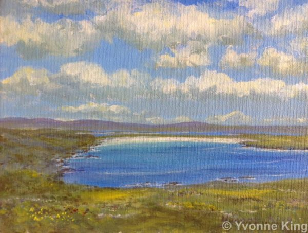 Joyful Clouds Over Dogs Bay 8x 6 Wild Atlantic Way Painting Series 7 By Yvonne King Acrylic On Canvas Panel