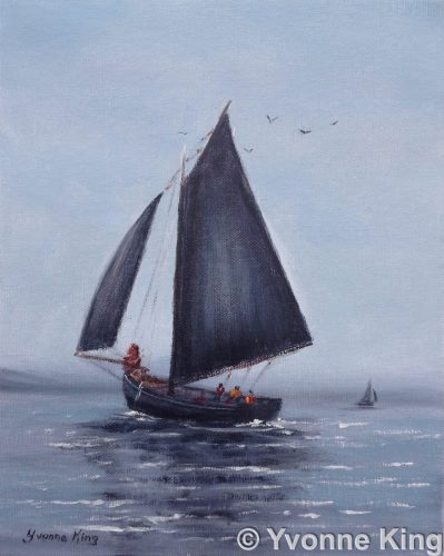 2016 SEA06 Galway Hooker Oil 10×8 Yvonne King Traditional Boats Sailing